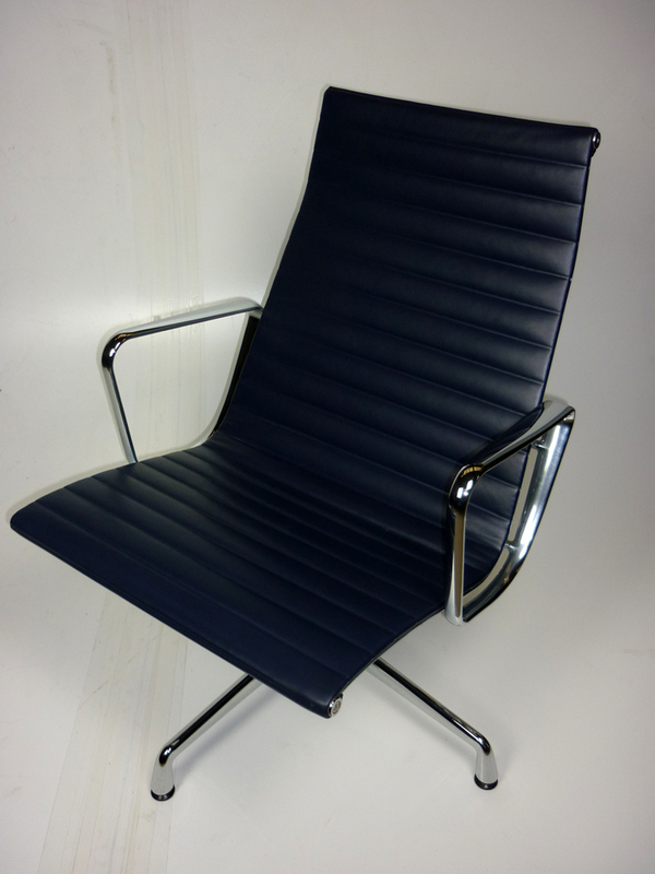 Vitra Eames Aluminium Chair in navy blue leather