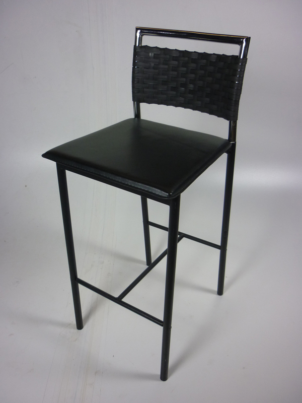 Black stools with woven back