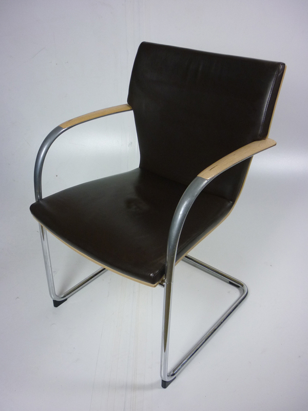 Chocolate brown leather meeting chairs