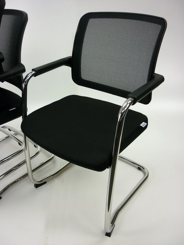 RIM Flexi black mesh cantilever stacking chairs