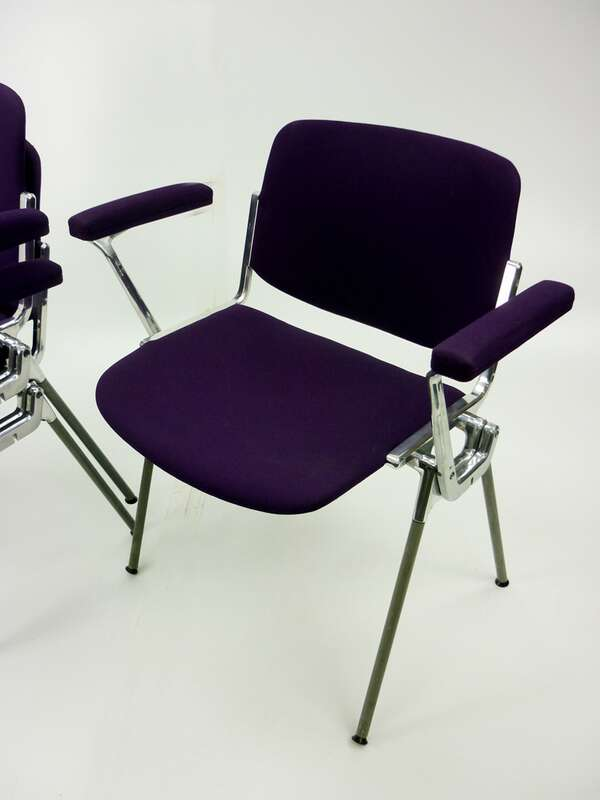 Castelli Rainbow purple stacking chairs with arms