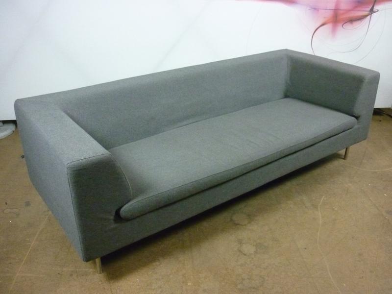 Dwell grey felt 3 seater sofa