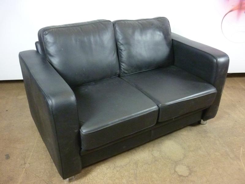 Boss Design Boxer black leather 2 seater sofa