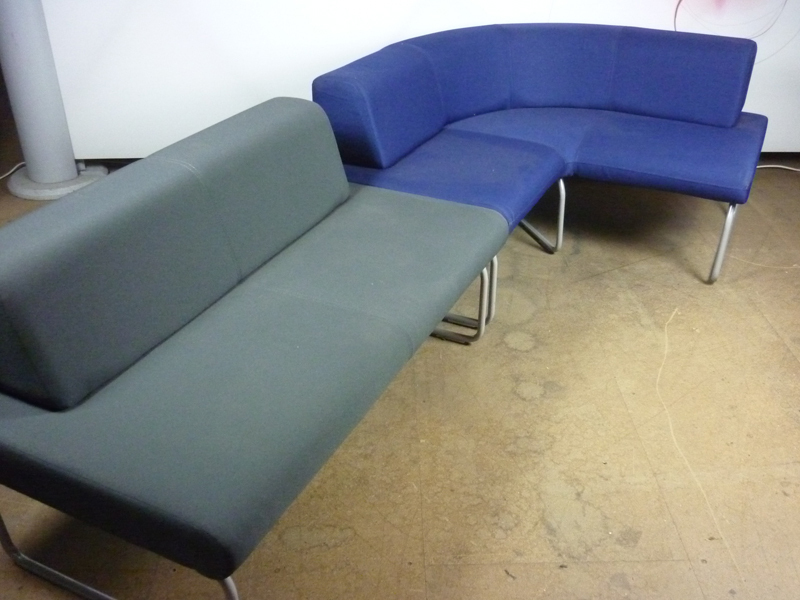 Blue & grey modular sofas