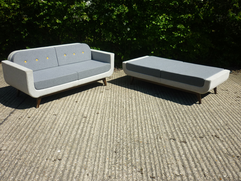 Nomique Kola light grey modern sofa and footstool