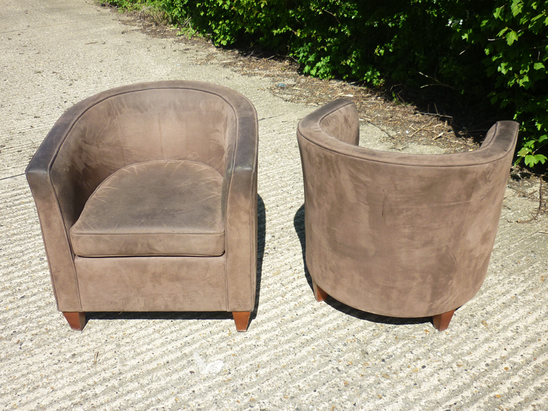 Brown suede Boss Design tub chairs