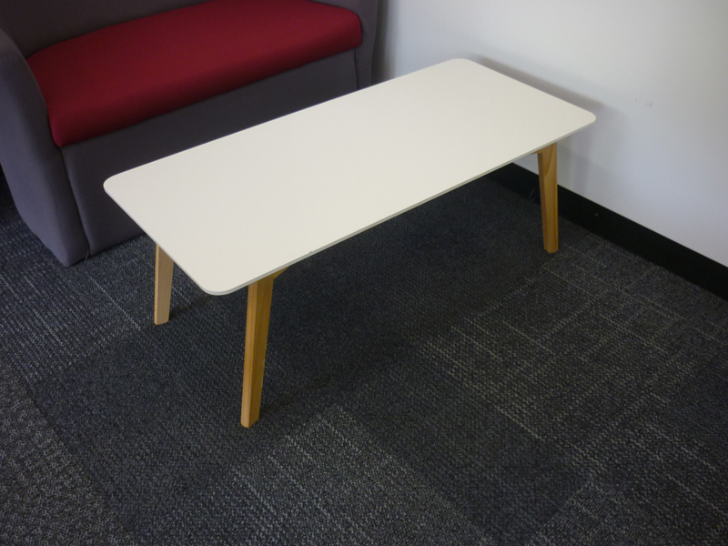 White wooden leg coffee table