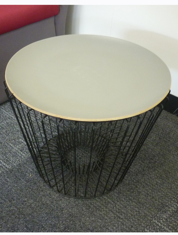 Wire frame light grey top coffee tables
