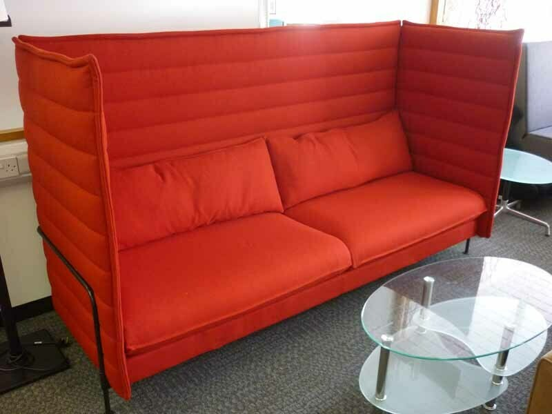 Vitra Alcove acoustic red 3 seater sofa
