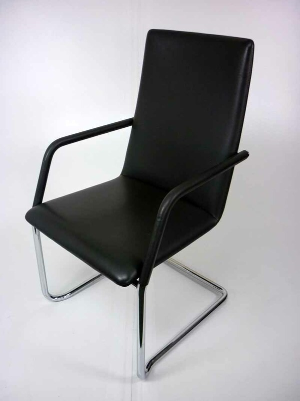 Graphite leather Brunner Finasoft high back cantilever meeting chair