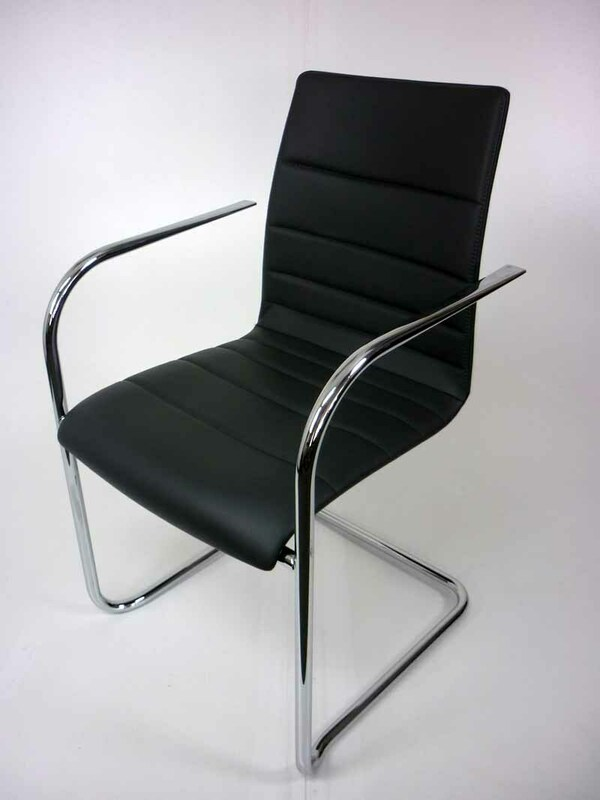 Graphite leather Brunner Fina Quilt cantilever meeting chair