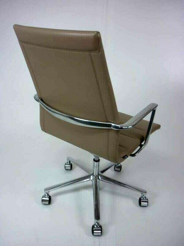 Mushroom leather ICF Una Executive meeting chairs