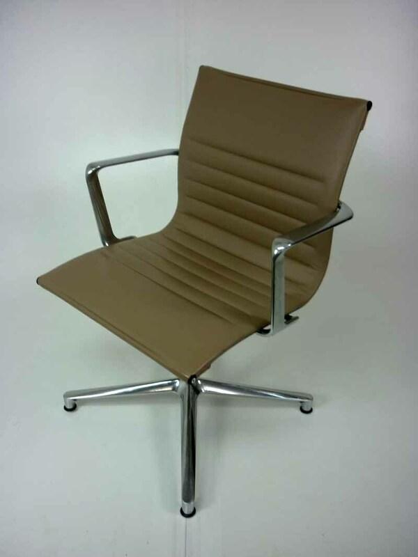 Mushroom leather ICF Una meeting chairs