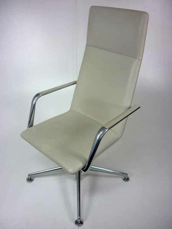 Cream leather Brunner Finasoft closed arm chair