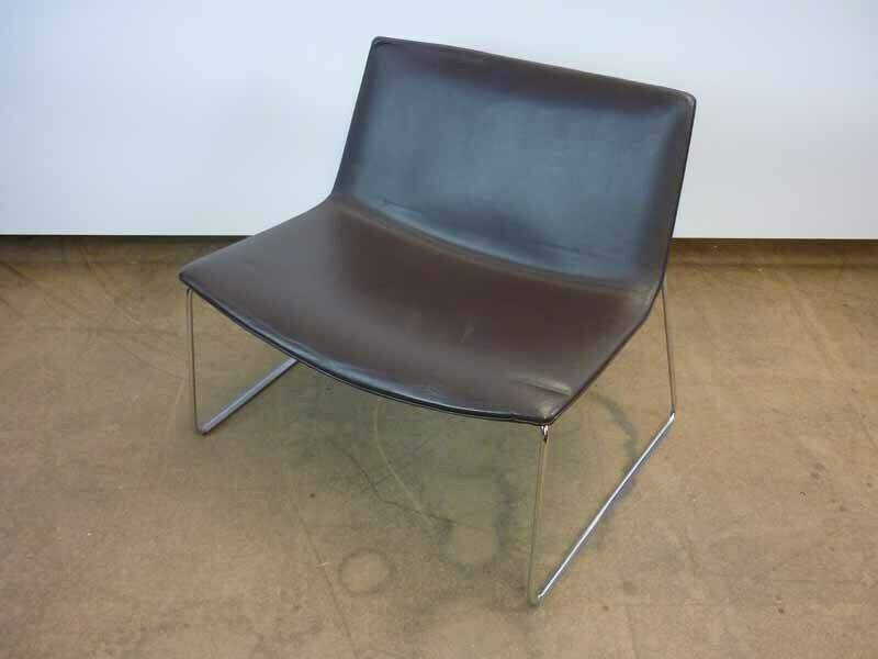 Arper Catifa 80 Brown Leather Skid Base Lounge Chairs
