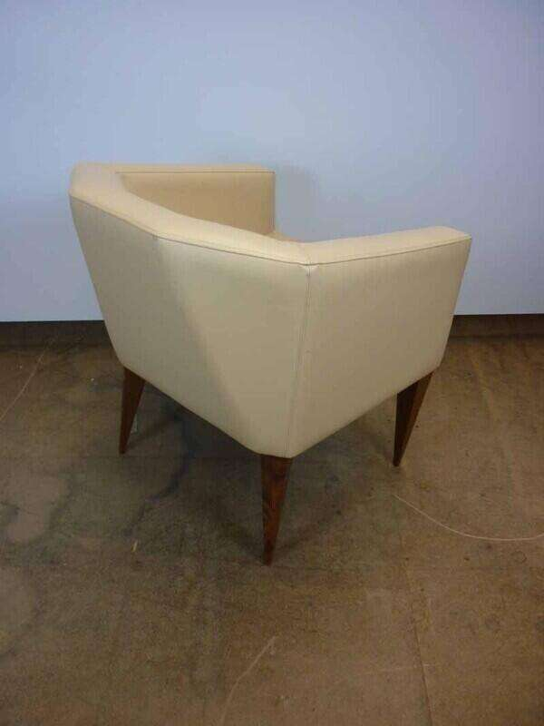 Light brown leather tub chair