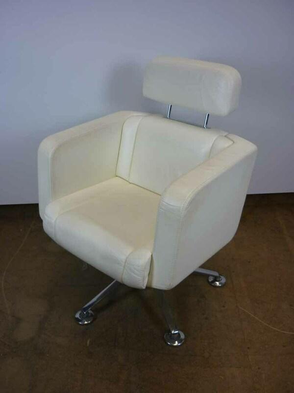 Cream leather Giroflex Tango armchairs