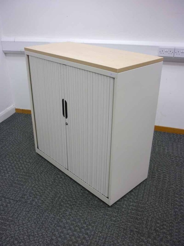 1000mm high cream Bisley tambour cupboards with maple top