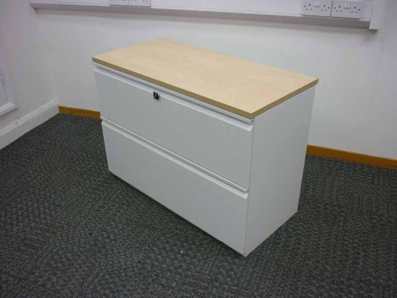 Frost white Knoll desk high side filer with maple top