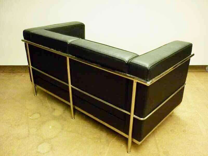 Le Corbusier style 2 & 3 seater black leather sofas, from