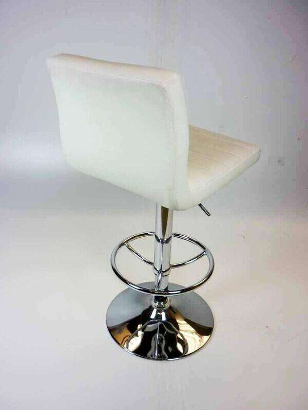 White faux leather stools