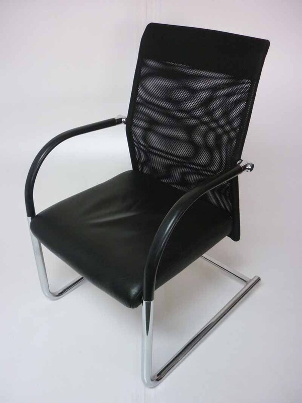 Black leather mesh back meeting chairs