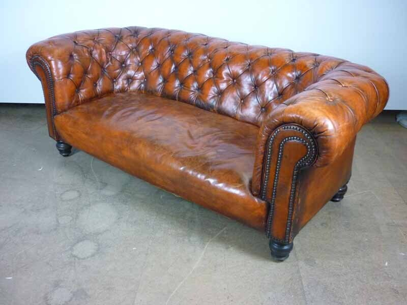 Redtan leather Chesterfield style 2 seater sofa
