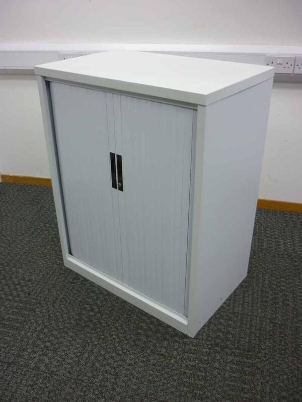 1050mm high white tambour cupboard