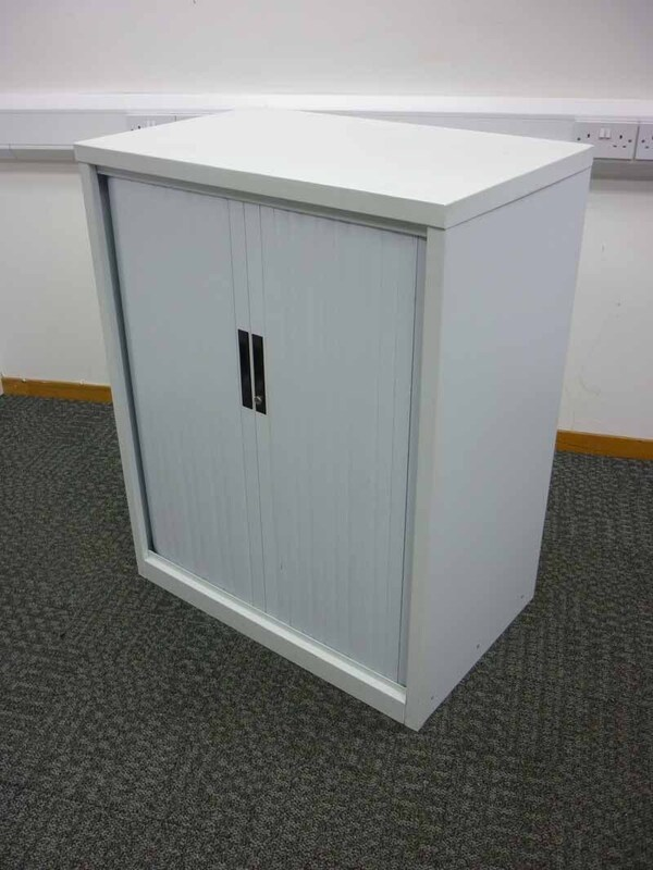 1050mm high white tambour cupboard