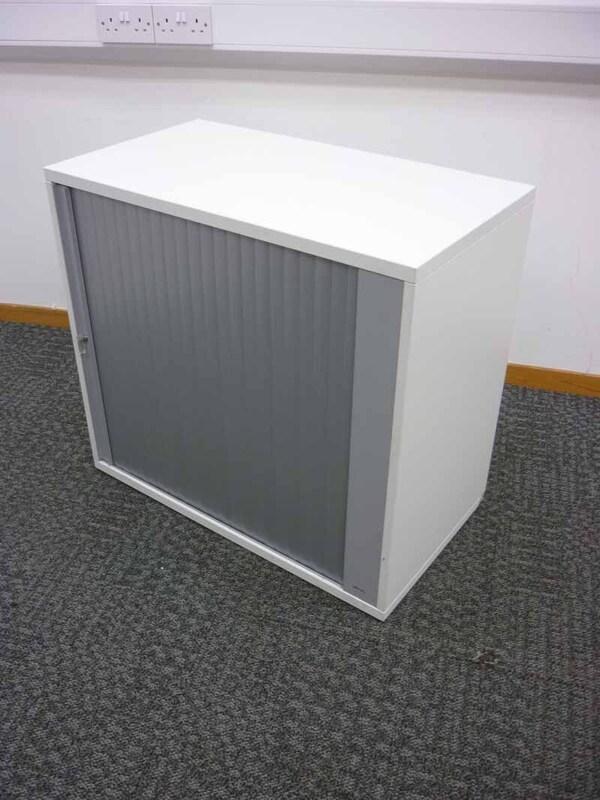 Desk high white tambour cupboard