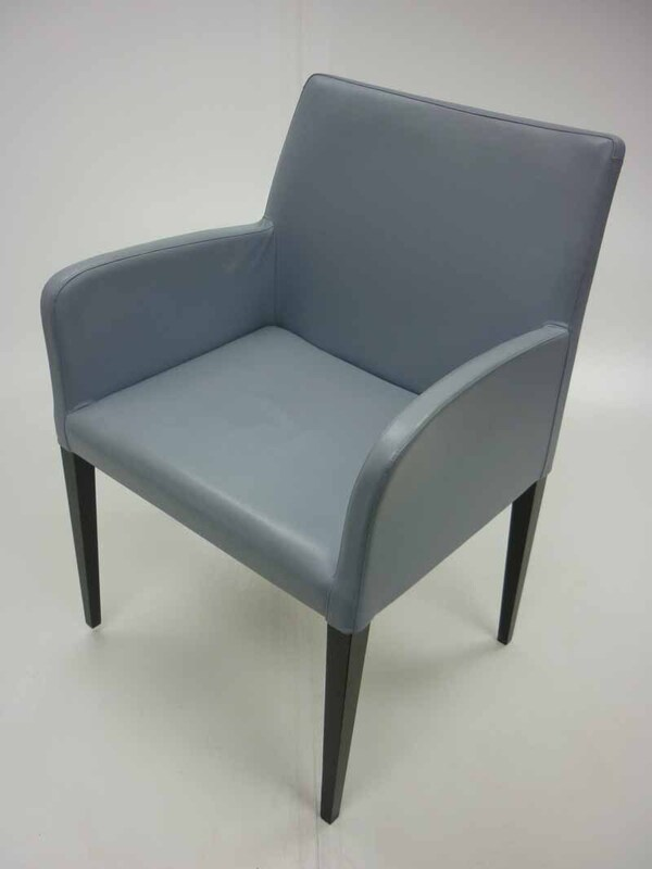 Light blue leather Poltrona Frau Liz armchairs