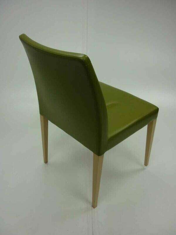 Green leather Poltrona Frau Liz chairs