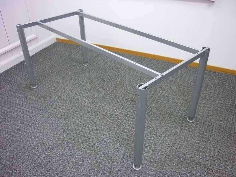Silver goalpost leg 1600mm desk frame with choice of top