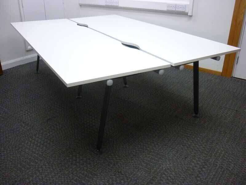 Herman Miller Abak white 1200 & 1400mm bench and single desks