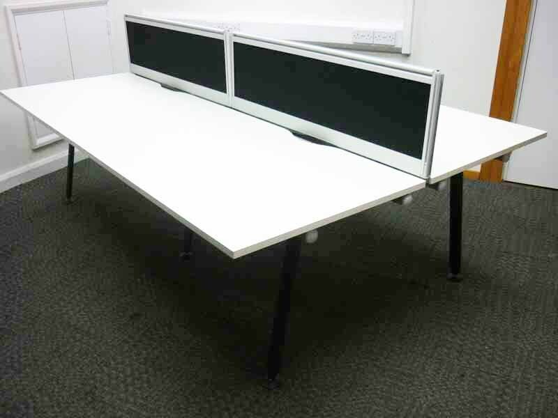 Herman Miller Abak white 1200mm bench and single desks