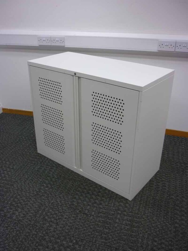 850mm high white perforated door cupboard