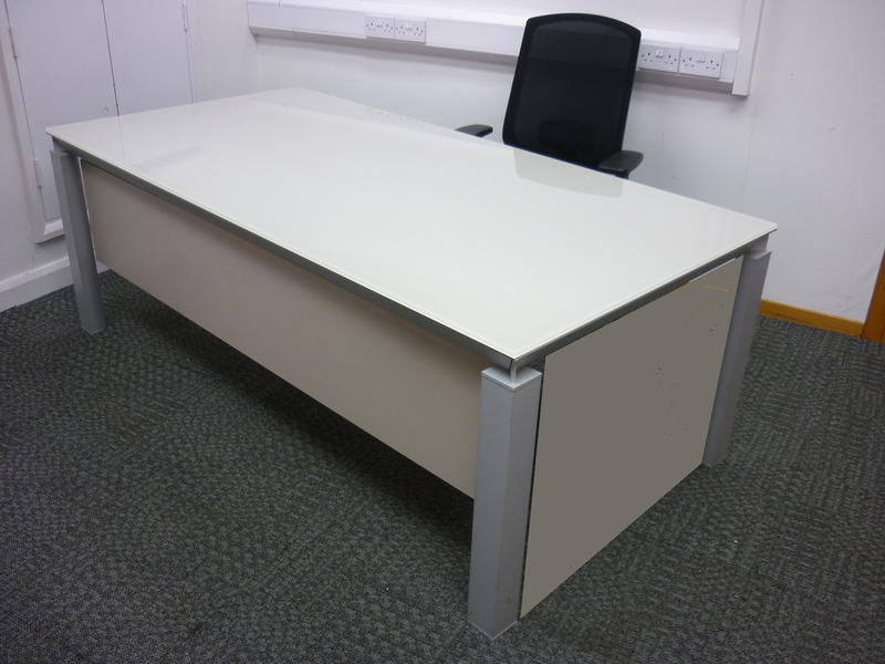 Martex Han cream glass desks