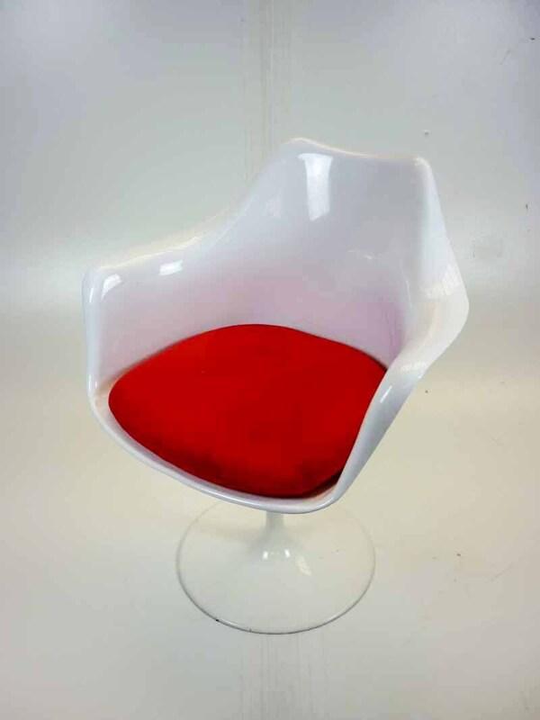 White plastic shell swivel armchairs
