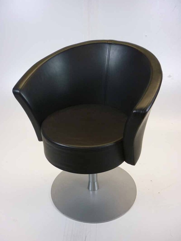 Black leather swivel tub chairs