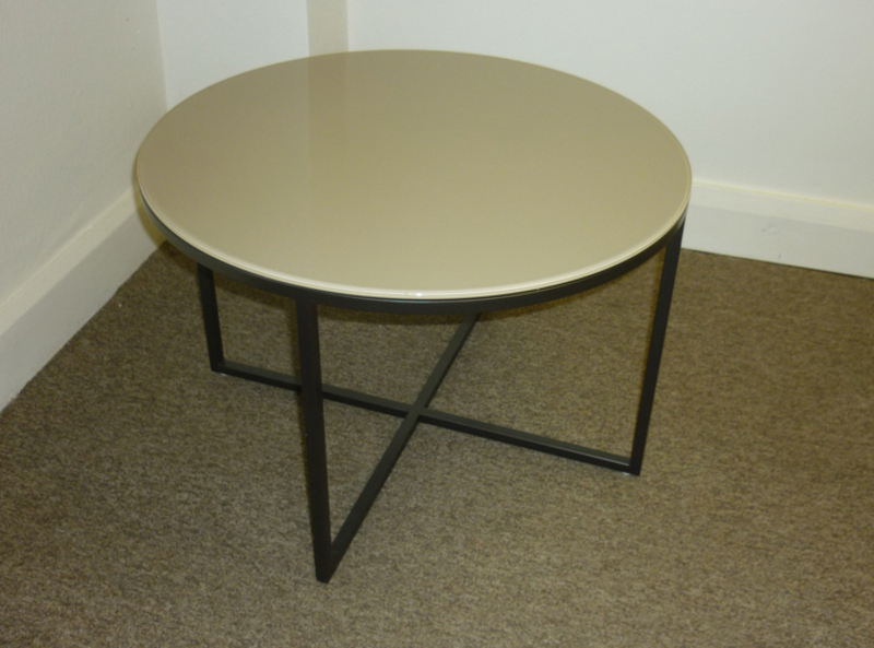 Marelli Circle beige glass coffee table