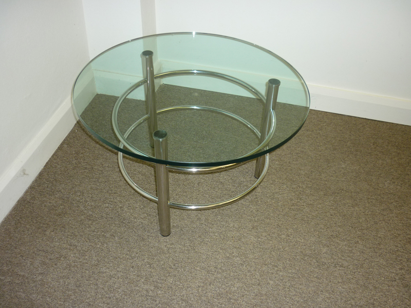 700mm clear glass coffee table