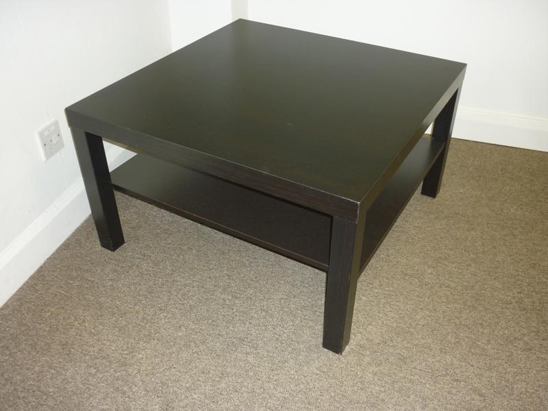 Ikea Lack dark wood square coffee table