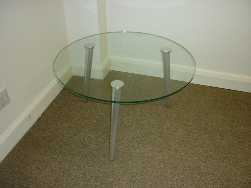 Glass 3 leg coffee table