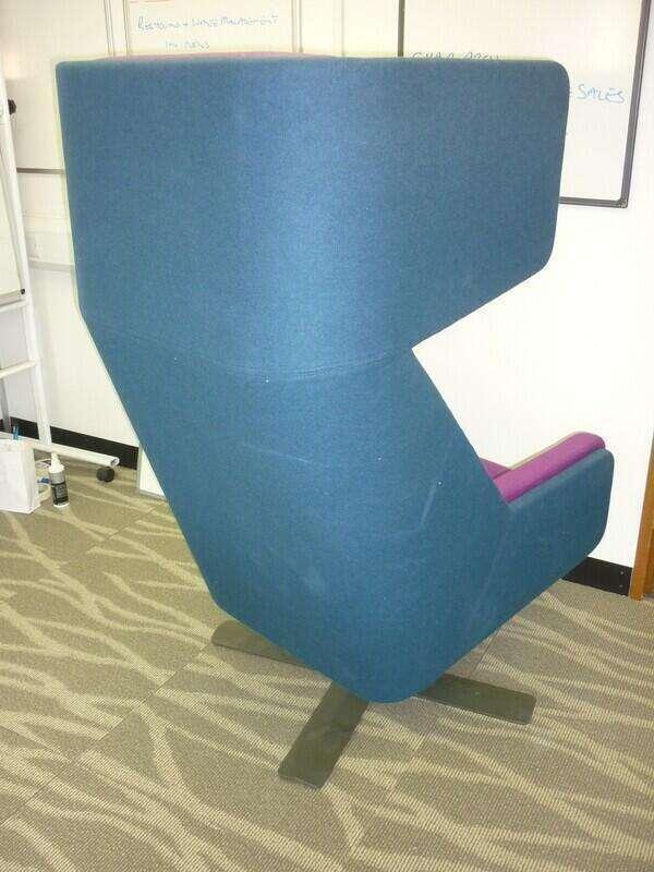 Haworth BuzziMe blue & magenta wing back chair