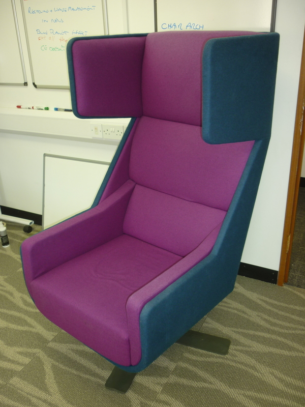 Modern blue amp magenta wing back chair