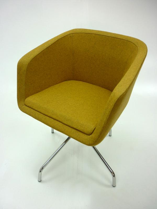 Sixteen3 Spencer mustard fabric tub chair