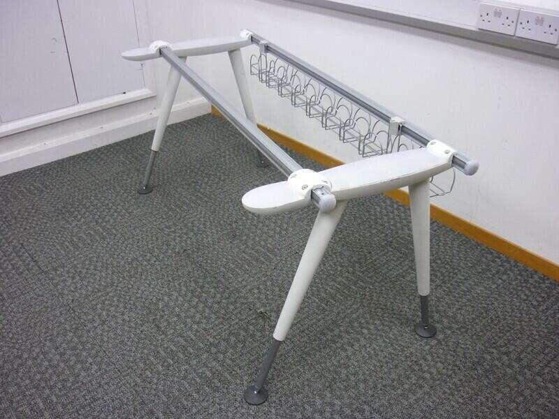 Herman Miller Abak white height adjustable leg frames & top