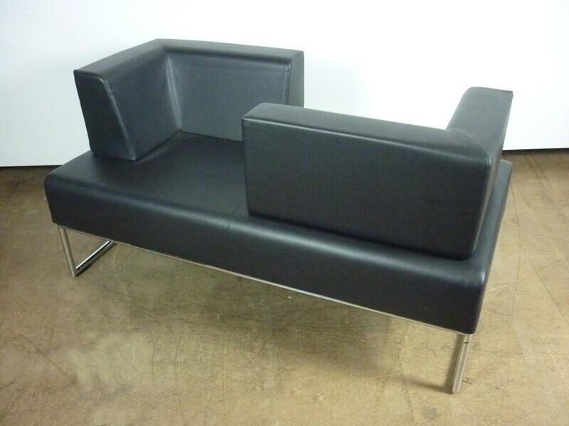 Allermuir Pause black leather sofa/love seat