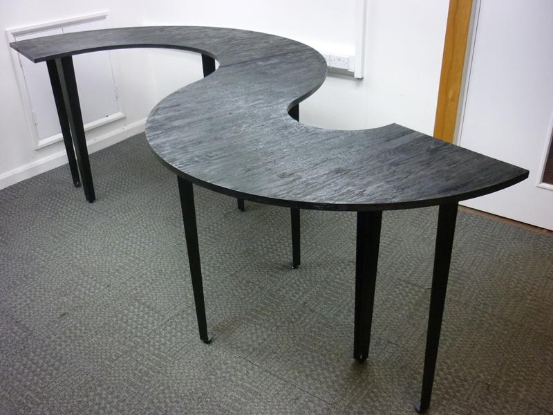 Rustic black Sshape poseur table