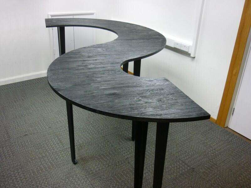 Rustic black S-shape poseur table